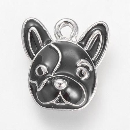 Rekeszzománc medál / fityegő - 15x14mm-es francia bulldog kutya
