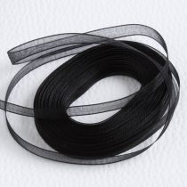 Organza szalag 7mm széles - fekete - 10m