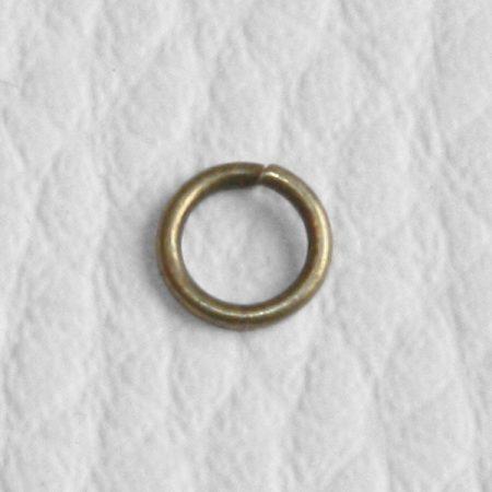 Antik bronz színű, 5mm x 1mm-es nyitható szerelőkarika - 100db