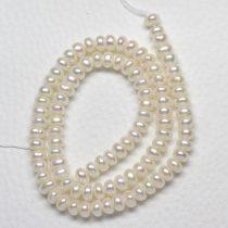 Tenyésztett gyöngy, fehér- kb. 3,5x6mm-es button - 1db