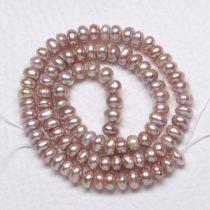 Tenyésztett gyöngy, púder rózsaszín - kb. 3,5x6mm-es button - 1db