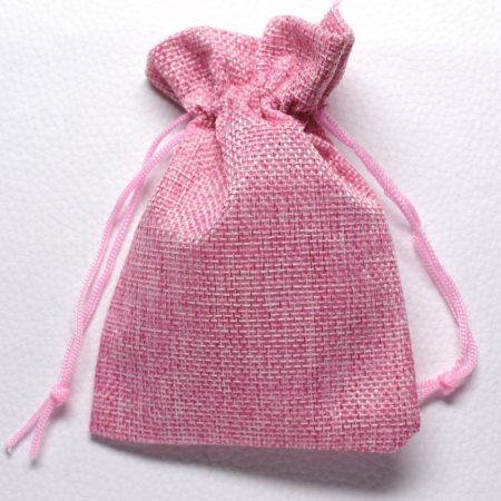 Vászon ajándéktasak kb. 10x14cm-es rózsaszín
