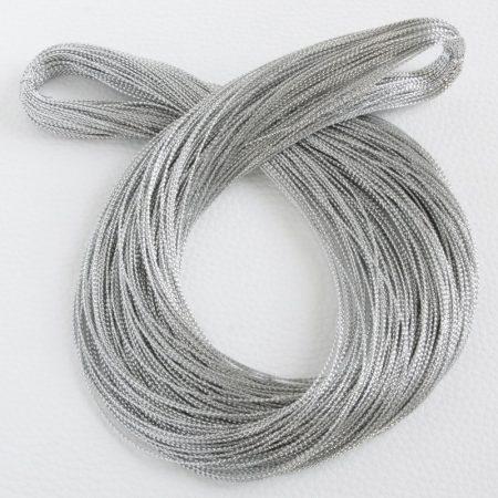 Lurex (metálfényű műszálas) zsinór 0,6mm vastagságú - f53 ezüst színű - kb. 100m