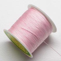 Műselyem shamballa zsinór 0,4mm vastagságú - világos rózsaszín (16) - kb. 130m