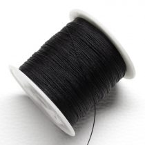Műselyem shamballa zsinór 0,4mm vastagságú - fekete (47) - kb. 130m