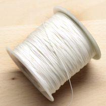 Műselyem shamballa zsinór 0,4mm vastagságú - fehér (56) - kb. 130m