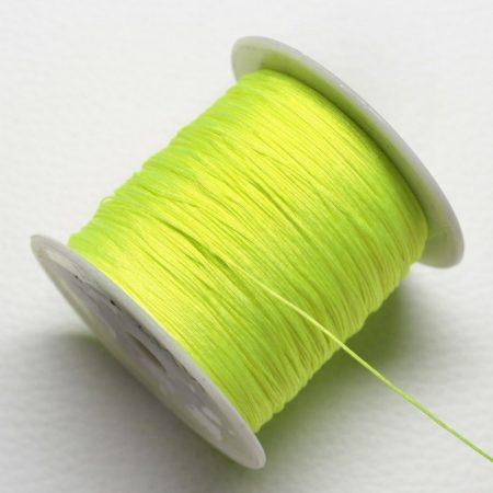 Nylon shamballa zsinór 0,4mm vastagságú - neonsárga (61) - kb. 130m