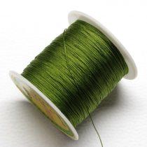 Műselyem shamballa zsinór 0,4mm vastagságú - olívazöld (71) - kb. 130m
