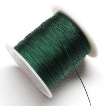 Nylon shamballa zsinór 0,4mm vastagságú - sötétzöld (75) - kb. 130m