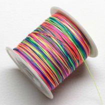 Műselyem shamballa zsinór 0,4mm vastagságú - multicolor (99) - kb. 130m