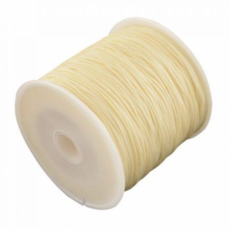 Nylon shamballa zsinór 0,8mm vastagságú - vanília sárga (58) - kb. 90m