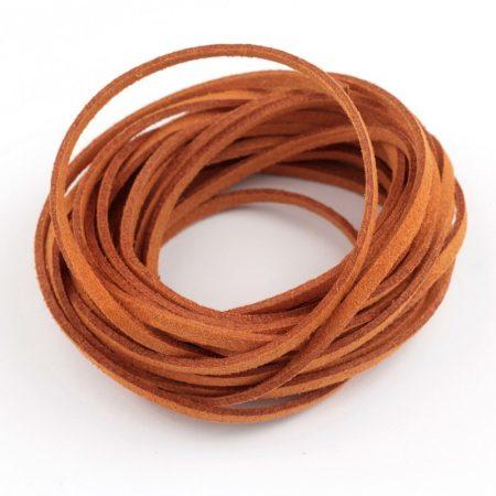 """Művelúr """"bőr"""" szál (hasítottbőr utánzat) 2,5 x 1,4mm-es - mv37 fahéjbarna - 4m"""