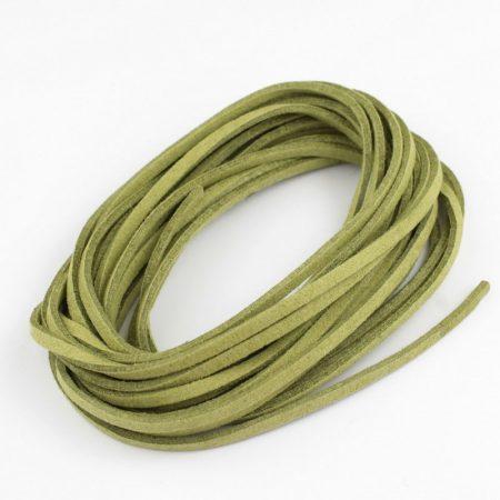 """Művelúr """"bőr"""" szál (hasítottbőr utánzat) 2,5 x 1,4mm-es - mv70 olívazöld - 4m"""