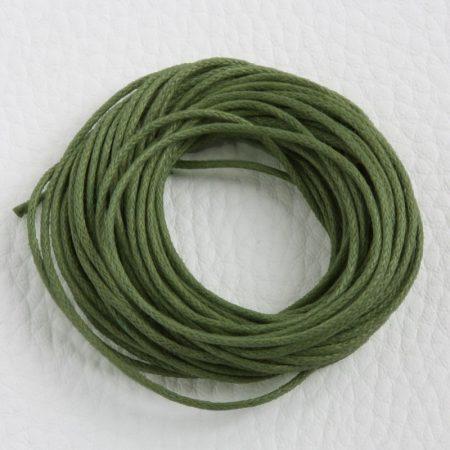 Viaszolt pamut zsinór 1mm vastagságú - v72 olívazöld - 5m