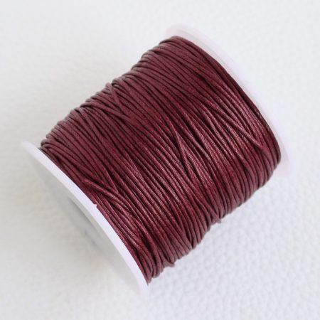Viaszolt pamut zsinór 1mm vastagságú - v11 burgundi - kb. 70m
