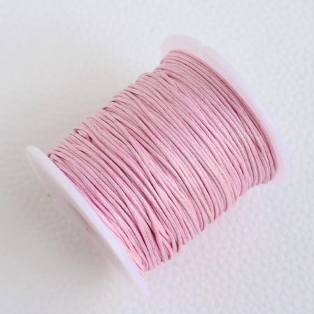Viaszolt pamut zsinór 1mm vastagságú - v15 halvány rózsaszín - kb. 70m