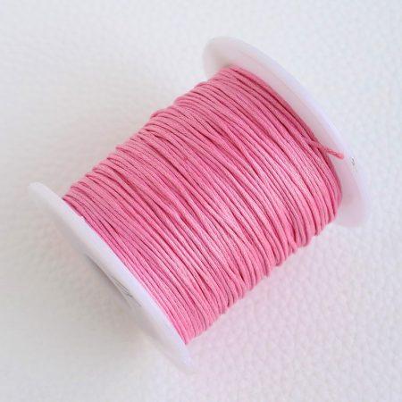 Viaszolt pamut zsinór 1mm vastagságú - v18 rózsaszín - kb. 70m