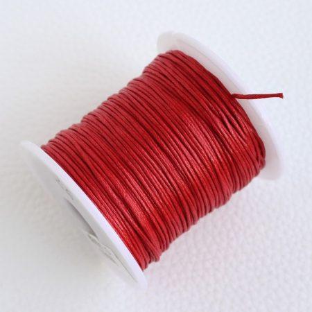 Viaszolt pamut zsinór 1mm vastagságú - v26 piros - kb. 70m