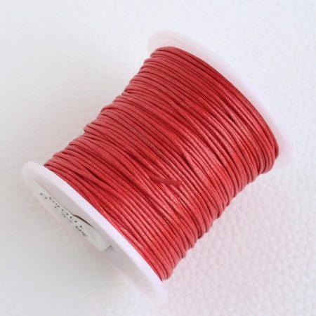 Viaszolt pamut zsinór 1mm vastagságú - v28 fáradt piros - kb. 70m
