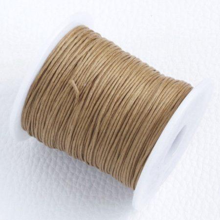 Viaszolt pamut zsinór 1mm vastagságú - v34 mandulabarna - kb. 70m