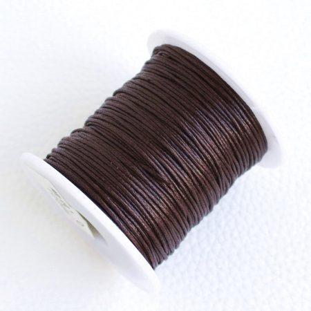 Viaszolt pamut zsinór 1mm vastagságú - v44 nagyon sötét barna - kb. 70m