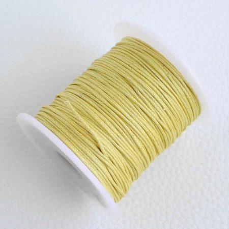 Viaszolt pamut zsinór 1mm vastagságú - v58 halvány sárga - kb. 70m
