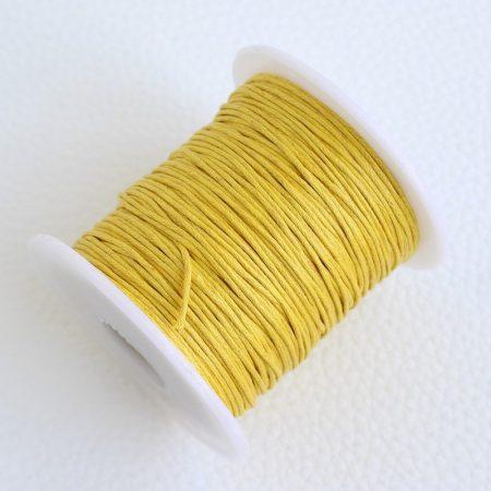 Viaszolt pamut zsinór 1mm vastagságú - v59 sárga - kb. 70m