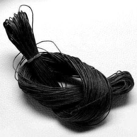 Viaszolt pamut zsinór 1mm vastagságú - v47 fekete - kb. 70m