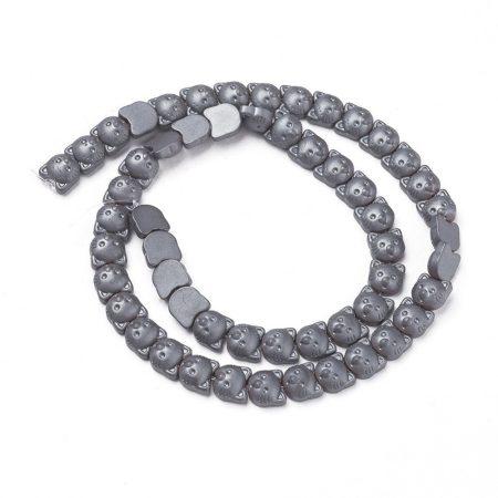 Hematit, MATT csiszolású ásványgyöngy - 8x8x4,5mm-es cicafej - 38-40cm-es szál