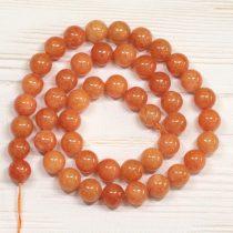 """""""Jáde"""" (festett narancs) ásványgyöngy - 8mm-es golyó - 38-40cm-es szál"""