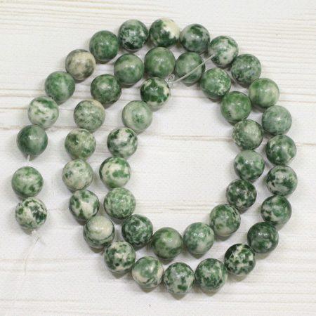Zöld pettyes jáde ásványgyöngy - 8,5mm-es golyó - 38-40cm-es szál
