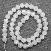 Hegyikristály (hevítéssel roppantott) ásványgyöngy - 8mm-es golyó - 38-40cm-es szál