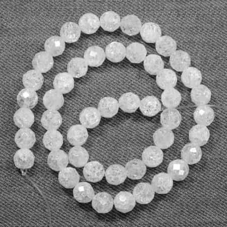 Hegyikristály (hevítéssel roppantott) ásványgyöngy - 8mm-es FAZETTÁLT golyó - 38-40cm-es szál
