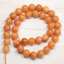 """""""Jáde"""" (festett narancs) ásványgyöngy - 10mm-es golyó - 38-40cm-es szál"""