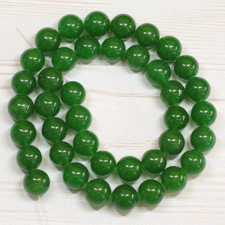 """""""Jáde"""" (festett smaragdzöld) ásványgyöngy - 9,5-10mm-es golyó - 38-40cm-es szál"""