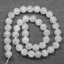 Hegyikristály (hevítéssel roppantott) ásványgyöngy - 10mm-es golyó - 38-40cm-es szál