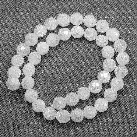 Hegyikristály (hevítéssel roppantott) ásványgyöngy - 10mm-es FAZETTÁLT golyó - 38-40cm-es szál