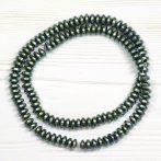 Hematit ásványgyöngy - 3x6mm-es lencse - galvanizált zöldes - 38-40cm-es szál